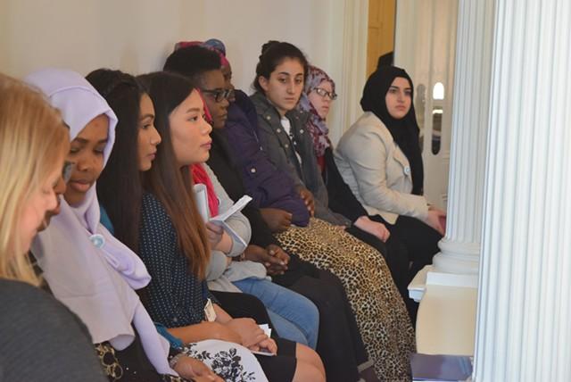 Burlington High School International Club students watch from the Senate gallery Thursday. - TERRI HALLENBECK