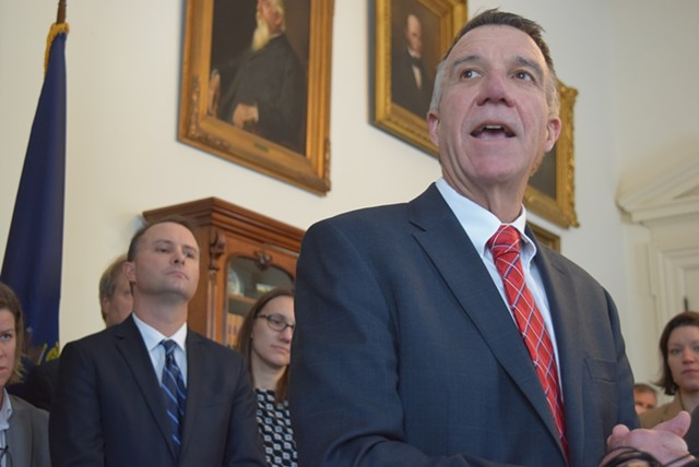Gov. Phil Scott at a February 9 press conference on immigration - TERRI HALLENBECK