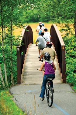 Biking the Stowe Recreation Path - FILE: JEB WALLACE-BRODEUR