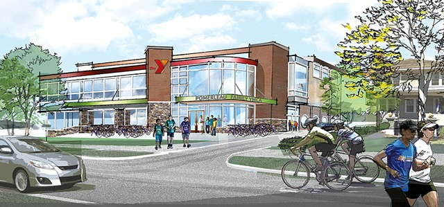 Burlington YMCA lobby exterior rendering - COURTESY OF GREATER BURLINGTON YMCA