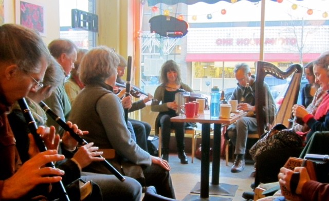 Irish Session players at Bagitos Bagel and Burrito Café in Montpelier - COURTESY OF VERMONT SCHOOL OF IRISH TRADITIONAL MUSIC