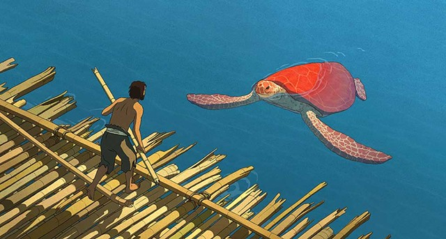 SHELL SHOCK A castaway has unexpected company in Dudok de Wit's exquisitely rendered fable. - ©STUDIO GHIBLI - WILD BUNCH - WHY NOT PRODUCTIONS- ARTE FRANCE CINEMA- CN4 PRODUCTIONS - BELVISION