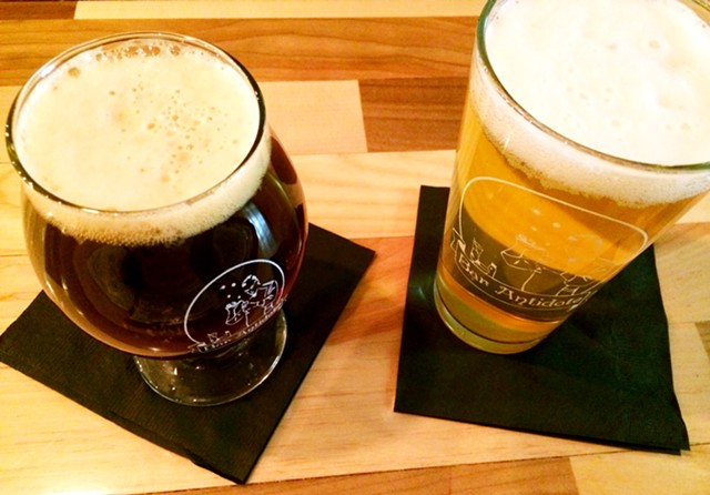 Left to right: Barn Red Ale and Tractor Pilsner from Hired Hand Brewing Co. - JULIA CLANCY