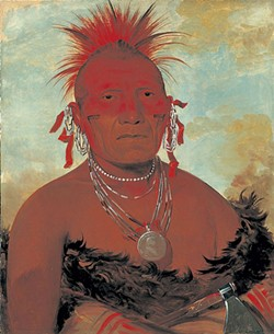 """Shón-ka-ki-he-ga, Horse Chief, Grand Pawnee Head Chief,"" oil painting by George Catlin - COURTESY OF MIDDLEBURY COLLEGE OF ART"