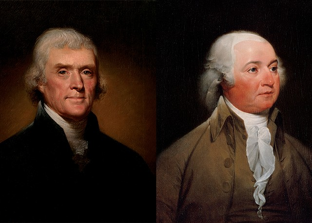 Official Presidential portraits of Thomans Jefferson, by Rembrandt Peale, 1800 (left) and John Adams, by John Trumbull, circa 1792 - COURTESY OF THE WHITE HOUSE HISTORICAL ASSOCIATION