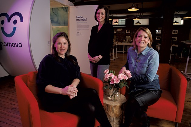 Mamava cofounder Sascha Mayer (right) with pregnant employees Annie Ode (left) and Nikkie Kent - MATTHEW THORSEN