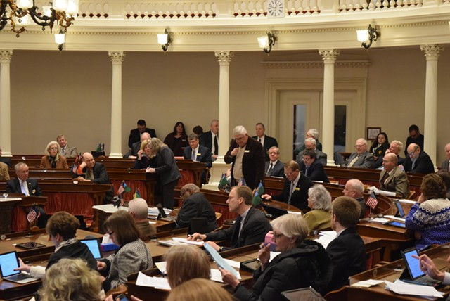 Rep. Ron Hubert (R-Milton) questions a bill that would insulate state authorities from being deputized as federal immigration officers Tuesday in the House chamber. - TERRI HALLENBECK