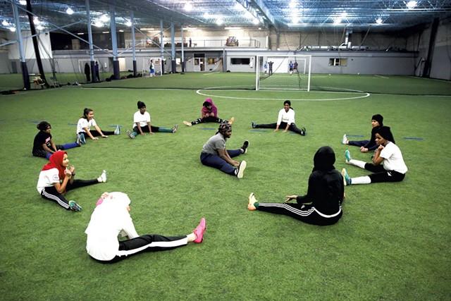 The Golden Blazers Girls Soccer Team practices at Shelburne Field House - JAMES BUCK