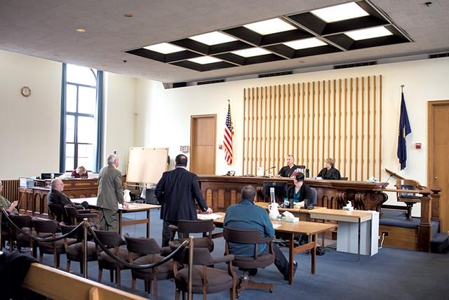 Judge Helen Toor presiding over an eviction case in Rutland - CALEB KENNA