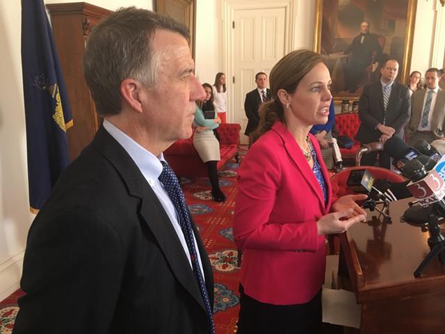 Gov. Phil Scott and Labor Commissioner Lindsay Kurrle - JOHN WALTERS