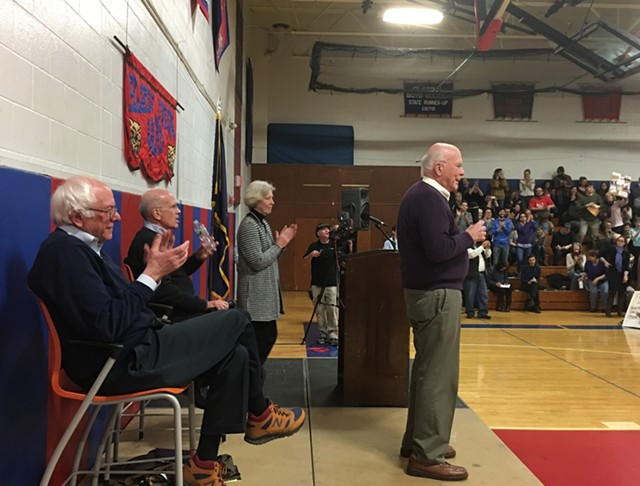 Sen. Patrick Leahy in Hardwick on Saturday - JOHN WALTERS