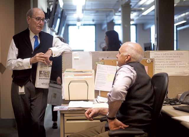 Fredric Rutberg (left) talking to Larry Parnass at the Berkshire Eagle - COURTESY OF BEN GARVER/BERKSHIRE EAGLE