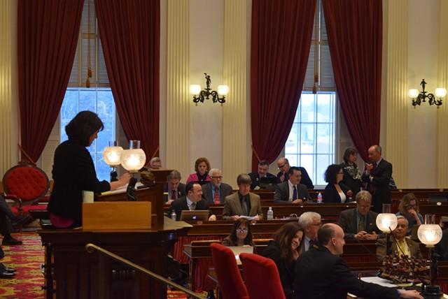 House Speaker Mitzi Johnson on the House floor Tuesday afternoon. - TERRI HALLENBECK