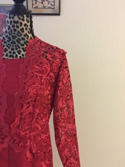Detail of evening wear dress by Sahar Alsammraee - SADIE WILLIAMS