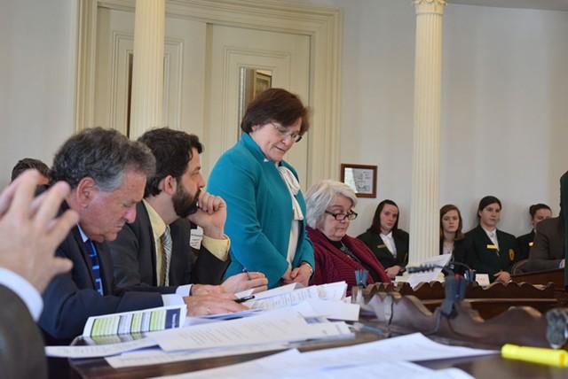 Sen. Debbie Ingram (D-Chittenden) discusses raising the smoking age to 21 on the Senate floor last month. - TERRI HALLENBECK