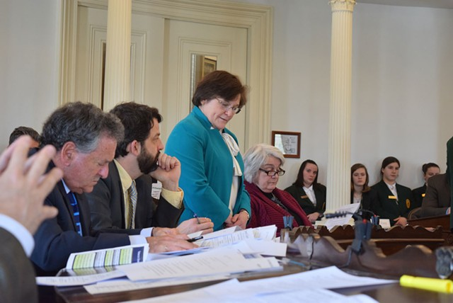Sen. Debbie Ingram (D-Chittenden) discusses raising the smoking age to 21 on the Senate floor last month. - TERRI HALLENBECK
