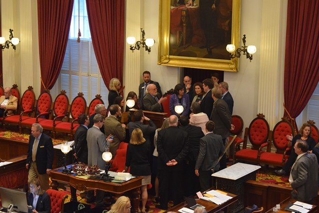 House members debate a procedural question during a break Wednesday. - TERRI HALLENBECK
