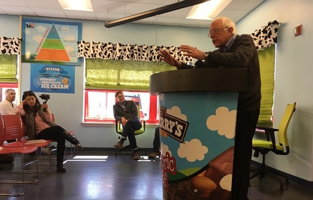 Sen Bernie Sanders (I-Vt.) speaks at the Ben & Jerry's plant in St. Albans. - MARK DAVIS
