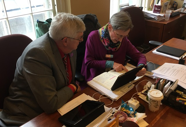 House Government Operations Committee vice chair Ron Hubert (R-Vernon) and chair Maida Townsend (D-South Burlington) going over the wording of S.8. - JOHN WALTERS