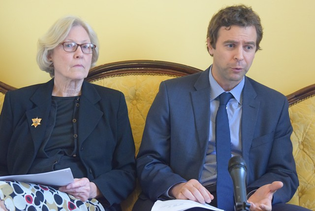 Senate President Pro Tempore Tim Ashe and Senate Appropriations Committee chair Jane Kitchel (D-Caledonia) discuss budget and tax issues. - TERRI HALLENBECK