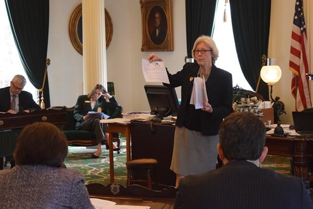 Senate Appropriations Committee chair Jane Kitchel explains the budget proposal to fellow senators Wednesday. - TERRI HALLENBECK