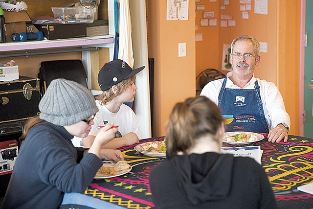 Mark Redmond at Spectrum's Drop-In Center, where he cooks dinner once a month - JAMES BUCK