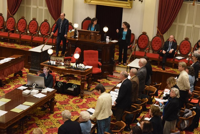 House members rise for a vote count by division during a marijuana debate Tuesday. - TERRI HALLENBECK