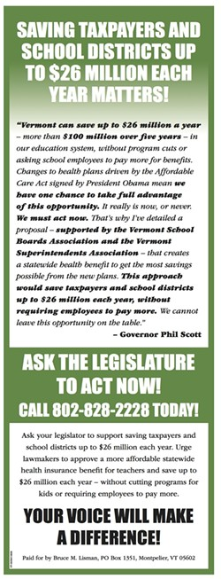 A print advertisement purchased by Bruce Lisman to support Gov. Phil Scott's agenda - COURTESY: BRUCE LISMAN