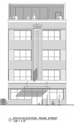 A rendering of the proposed Microtel that would be built at the current location of Bove's on Pearl Street in Burlington. - SCOTT + PARTNERS ARCHITECTURE