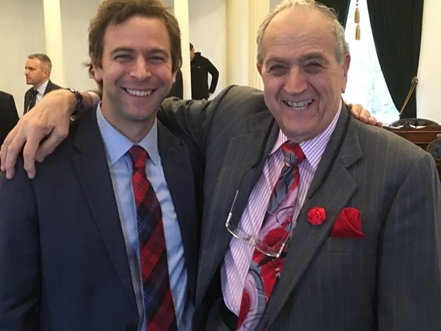 Sen. Tim Ashe (D/P-Chittenden), left, and Sen. Dick Mazza (D-Grand Isle) model their ties Friday. - TERRI HALLENBECK