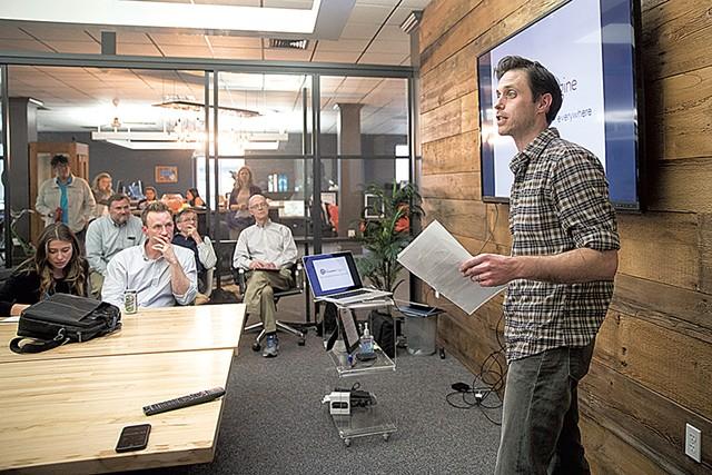 Dominic Spillane presenting his startup, TheaterEngine - JAMES BUCK