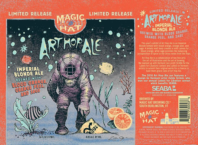 Art Hop Ale label with illustration by Zelde Grimm. - MAGIC HAT