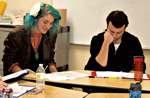 Emily Lopez (Rachel Saiger) and Timothy Lewis (Ben Zion Black) reading Of the  Better Kind - DAVID PUNIA