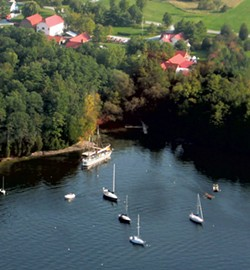 Aerial view of the Lake Champlain Maritime Museum shoreline - COURTESY OF LAKE CHAMPLAIN MARITIME MUSEUM
