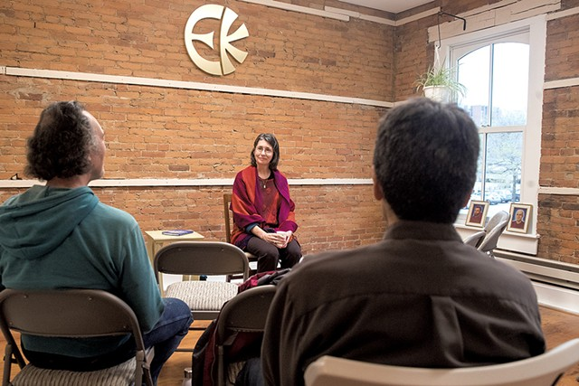 Eckankar cleric Amanda Amend (center), leading the group at a community chant - JAMES BUCK