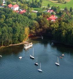 Aerial view of the Lake Champlain Maritime Museum shoreline - PHOTOS COURTESY OF LAKE CHAMPLAIN MARITIME MUSEUM