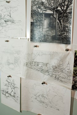 Sketches on the wall at Studio Roji - CALEB KENNA