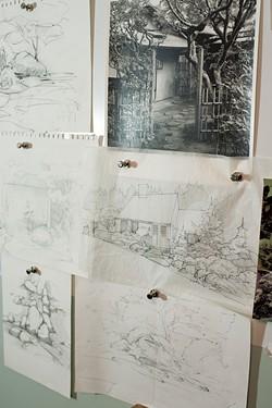 Sketches on the wall at Studio Roji - CALEB KENNA