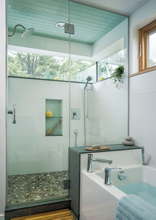 The master bedroom has a glass-enclosed shower and separate bathtub. - JIMWESTPHALEN