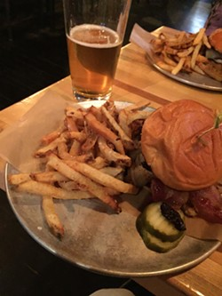 Blended burger and  beer at Cornerstone Burger Co. in Northfield - SALLY POLLAK