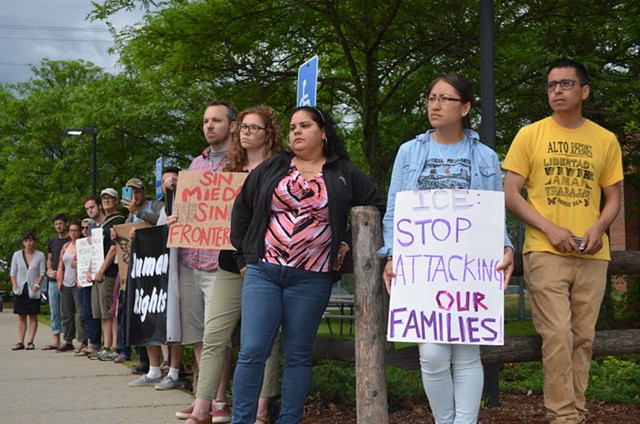 Supporters protest the arrests of Esau Peche-Ventura and Yesenia Hernández-Ramos outside the Chittenden Regional Correctional Facility. - ALICIA FREESE