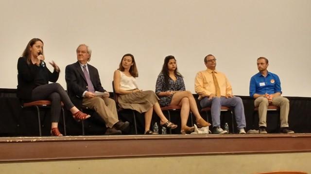 Members of panel discussion, left to right: Amila Merdzanovic, David Moats (moderator), Amanda Bailly, Sana Mustafa, William Notte, Hunter Berryhill - NATE ORSHAN
