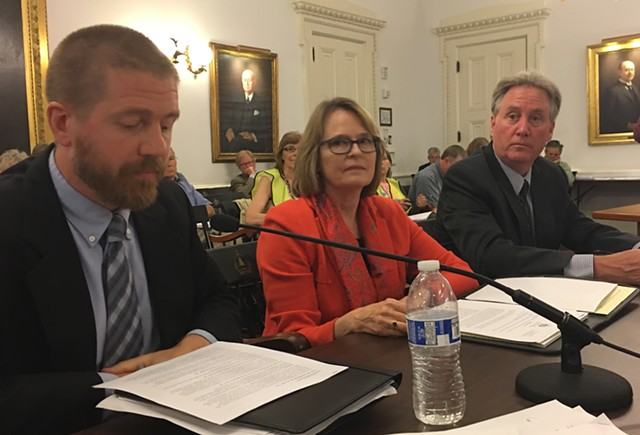Public Service Board utilities analyst Tom Knauer (left), PSB member Margaret Cheney and PSB staff attorney John Cotter testify before LCAR on Thursday. - JOHN WALTERS