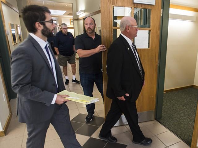 Norm McAllister enters court Friday. - RYAN MERCER/BURLINGTON FREE PRESS