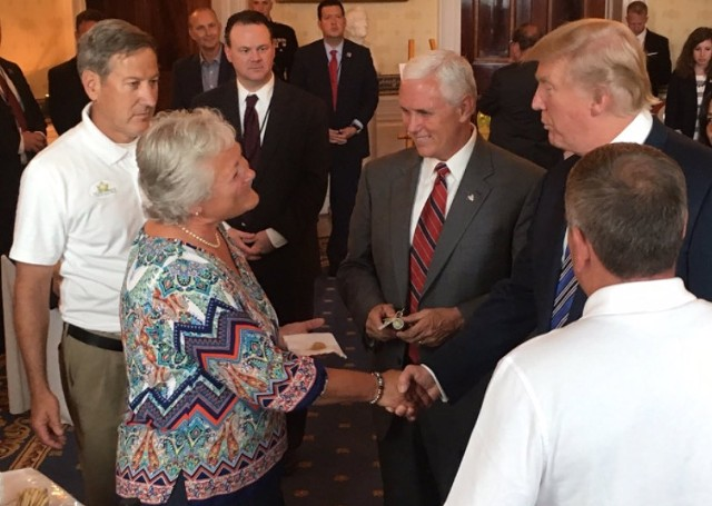 Marianne Dubie greets President Donald Trump and Vice President Mike Pence at the White House on Monday as Brian Dubie (left) and Mark Dubie (right) look on. - COURTESY BRIAN DUBIE