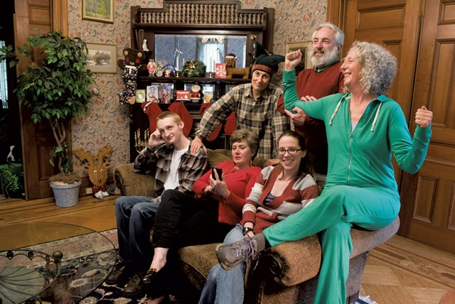Back row, from left: Carol Ruzicka, Gene Kraus and Lava Mueller; seated, from left: Lennon Philo, Andra Kisler and Amanda Menard in Family Holiday - COURTESY OF TIM CALABRO/FIRST LIGHT STUDIOS