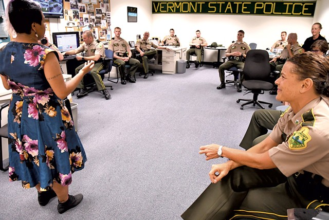 Catarina Campbell speaking to the troopers - LEE KROHN