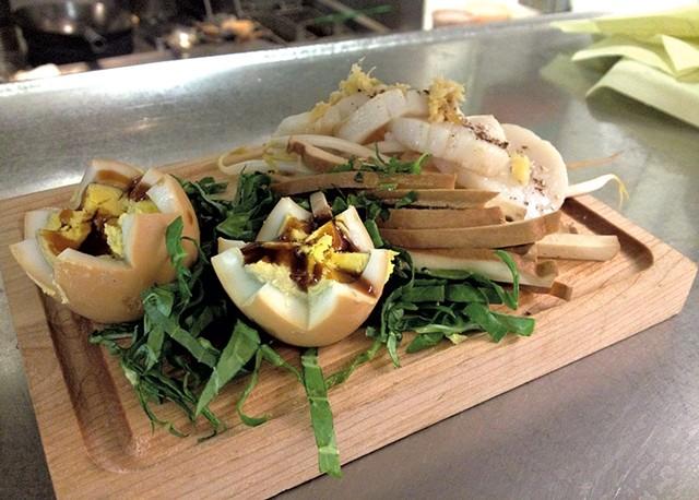 Jasmine tea-infused egg dish from A Single Pebble - COURTESY OF CHIUHO DUVA