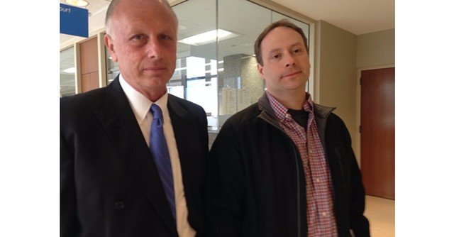 Attorney Bill Norful, left, and Dan Emmons at Vermont Superior Court in Burlington earlier this year - MOLLY WALSH