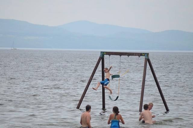 Sam Whitney, 11, takes the leap. - SASHA GOLDSTEIN